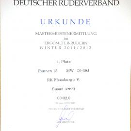 Urkunde für den 1. Platz bei den Deutschen Meisterschaften im Ergometer Rudern