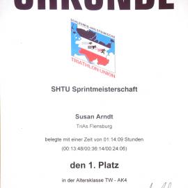 1. Platz SHTU-Sprintmeisterschaften im Triathlon AK4