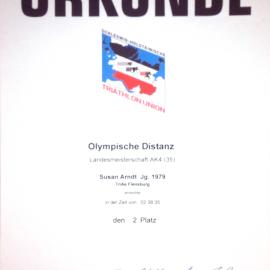 2. Platz SHTU-Landesmeisterschaften Olympische Distanz AK4