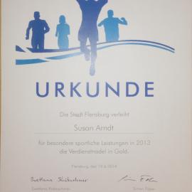 Urkunde von der Stadt Flensburg für außergewöhnliche sportliche Leistungen